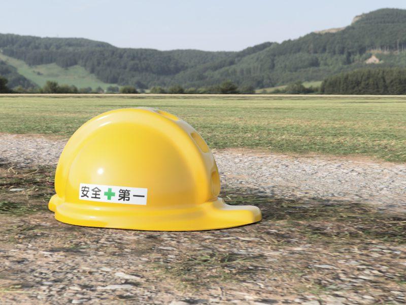 工事用ヘルメット 黄 レンダリング 背景あり