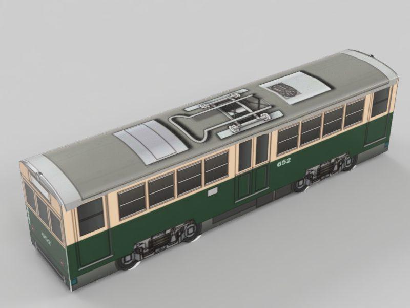広島電鉄 モ650形652 デカール貼り付け レンダリング後