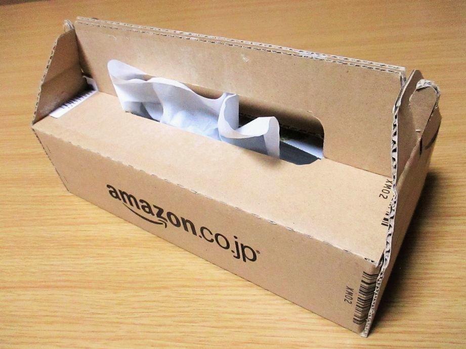Amazonのダンボール箱をティッシュボックスにリメイクする!