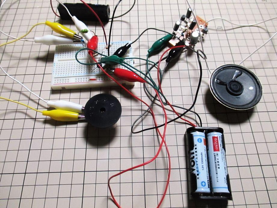 1石トランジスタラジオと2石簡易アンプ
