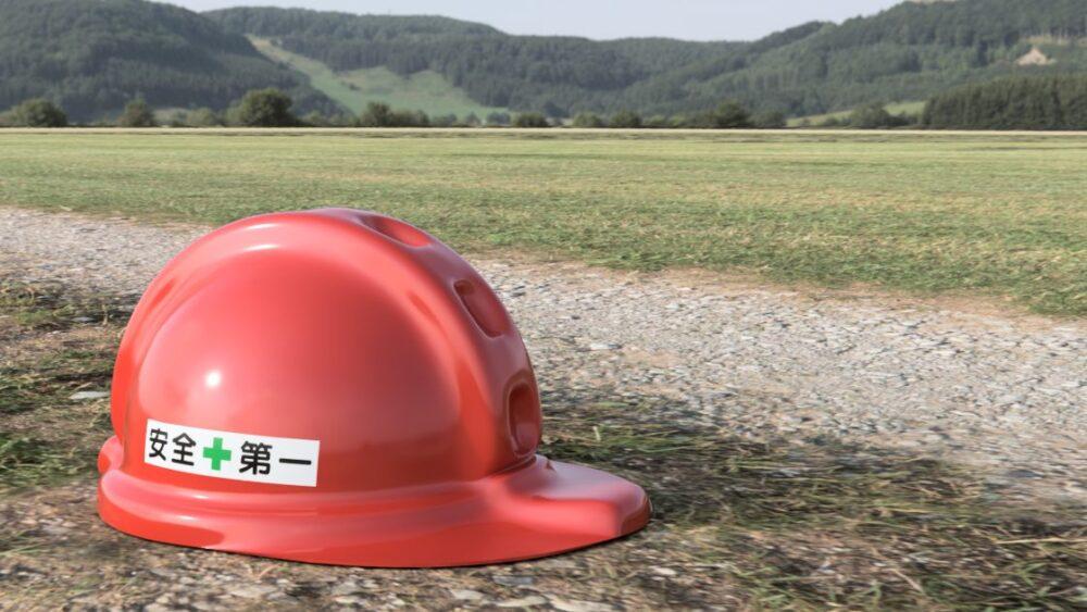 工事用ヘルメット 赤 レンダリング 背景あり